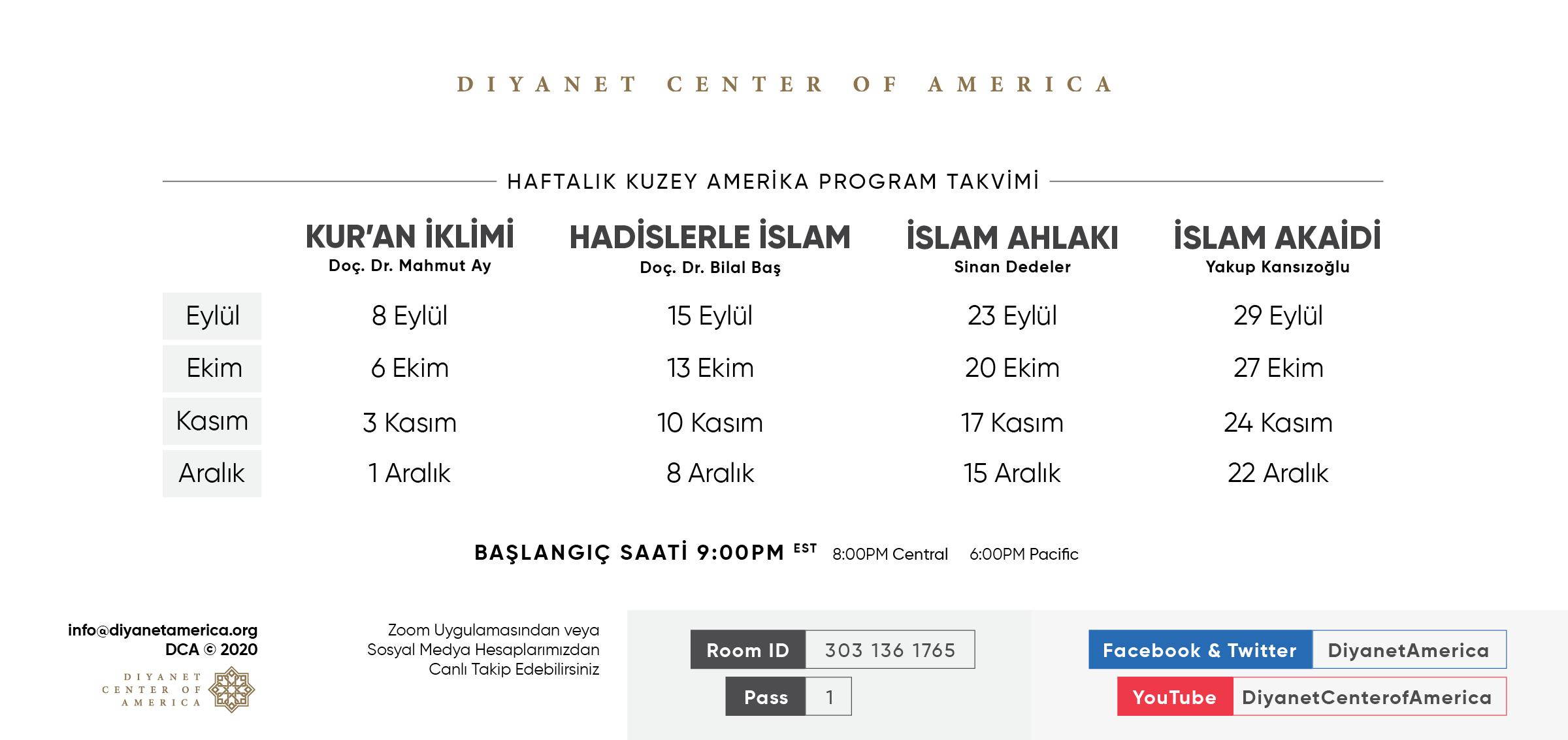 DCA Haftalık Dini Programlar