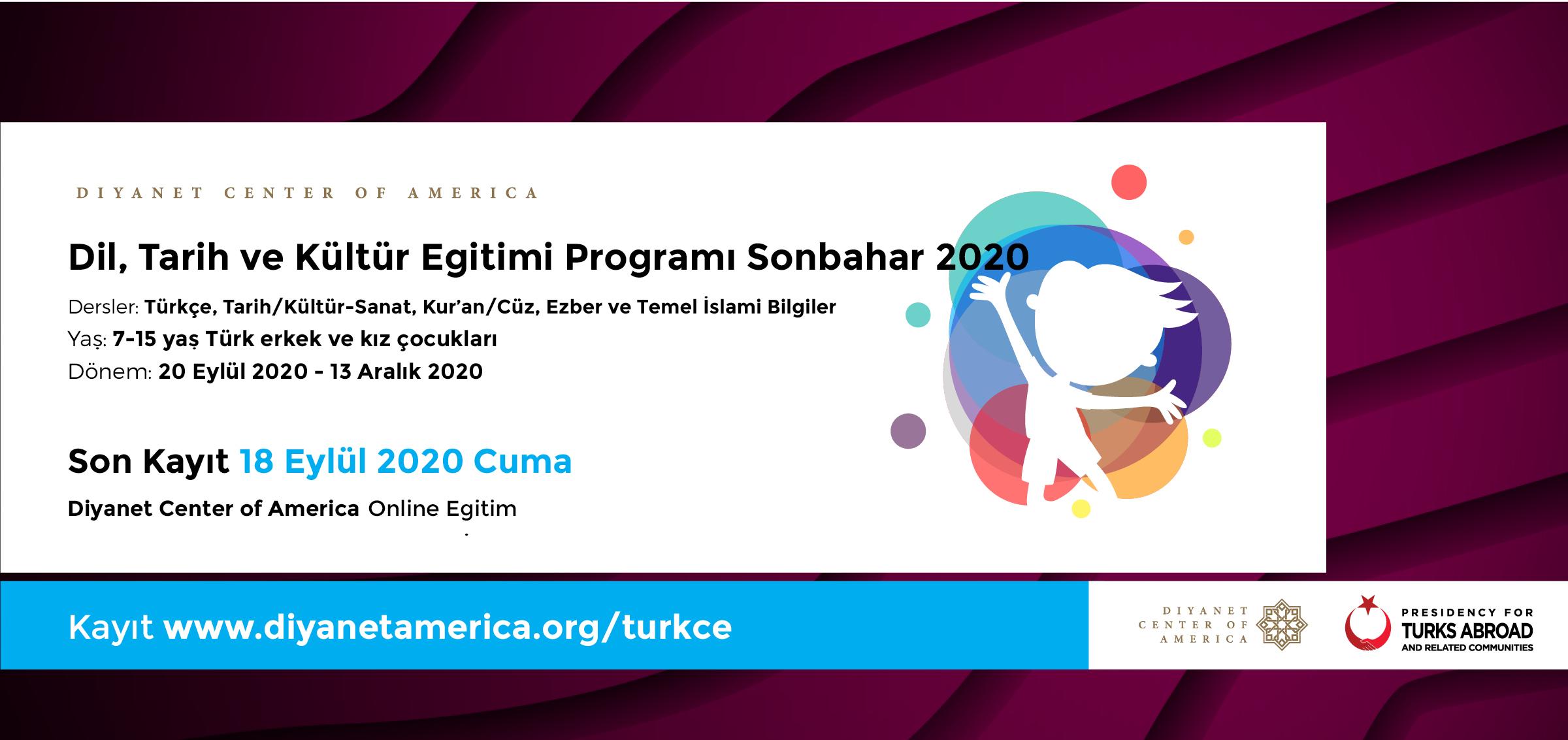 DCA Dil, Tarih ve Kültür Eğitimi Programı Sonbahar 2020
